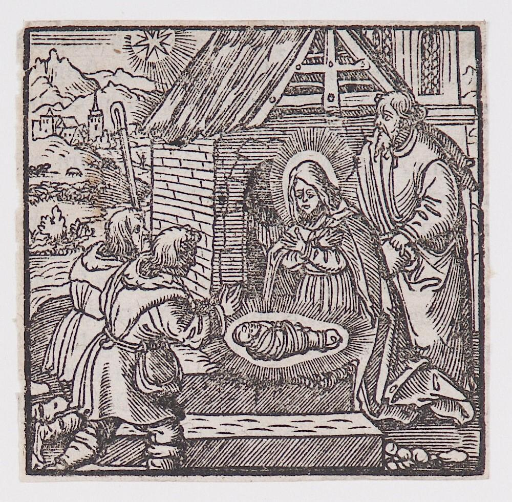 """Adoration of the Shepherds,"" from a book of commentary on the Bible (Latin), Luke 2:15-16"