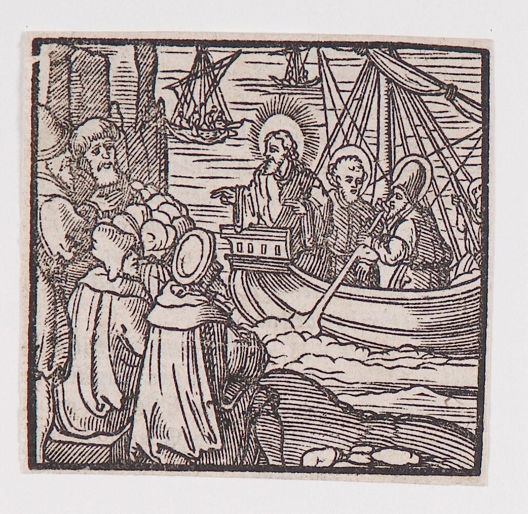 """Jesus preaching from the boat,"" from a book of commentary on the Bible (Latin), Luke 5:1-3; Matthew 13: 1-2; Mark 4:1"