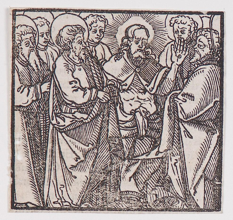 "Christ showing his wonds to Saint Thomas "" from a book of commentary on the Bible (Latin), Luke 22:36-43"