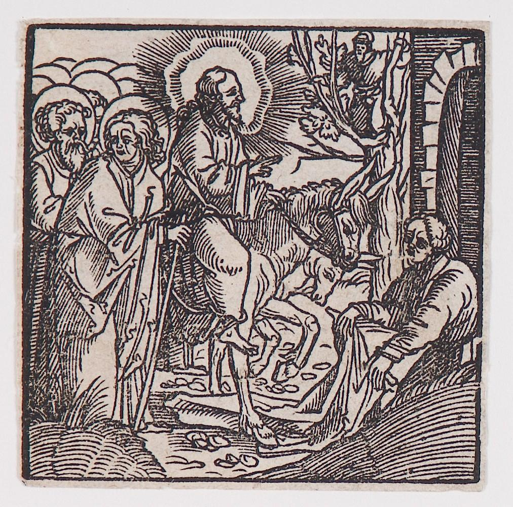 """Christ's Entry into Jerusalem, from a book of commentary on the Bible (Latin), Mark 11: 1-11"