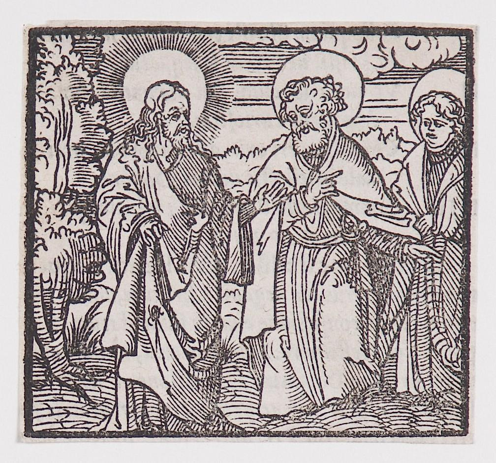 """The Resurrected Christ with Saints Peter and John , "" from a book of commentary on the Bible (Latin), John 21: 15-23"