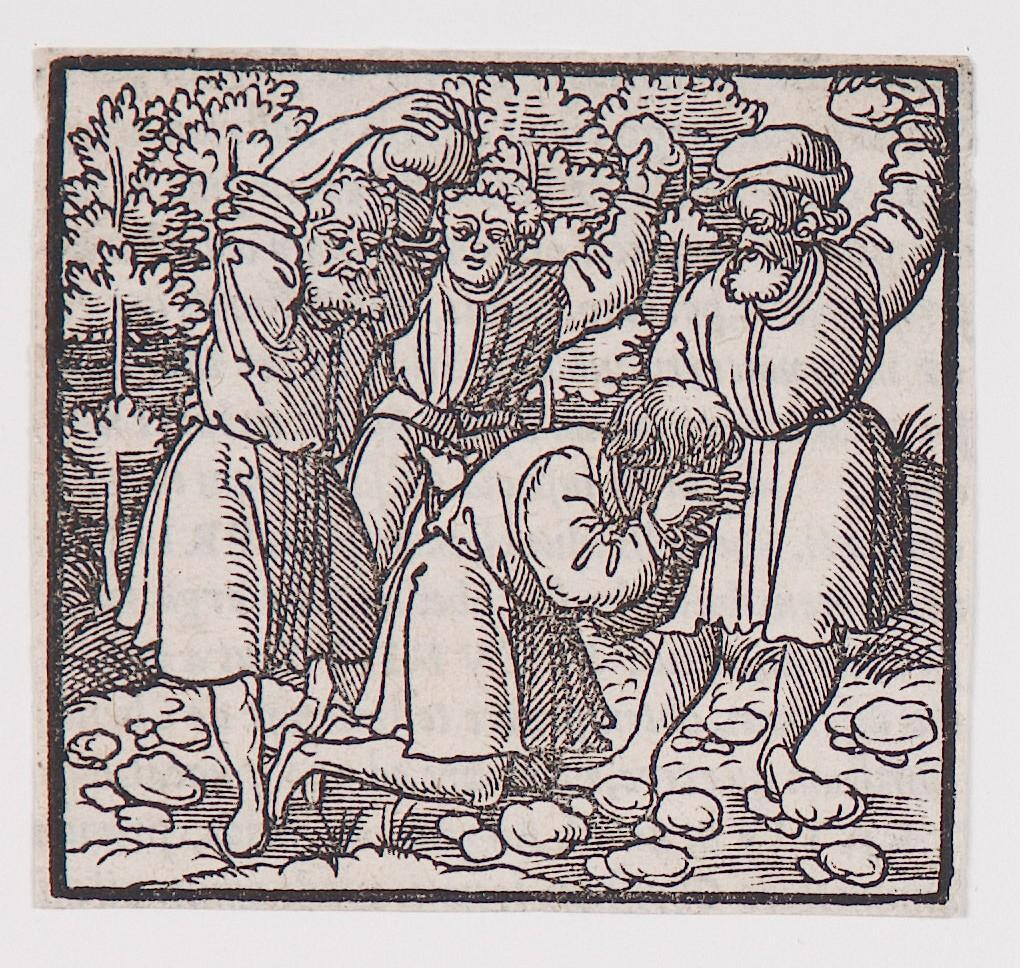 """Stoning of Saint Stephen,"" from a book of commentary on the Bible (Latin), Acts 7: 58"