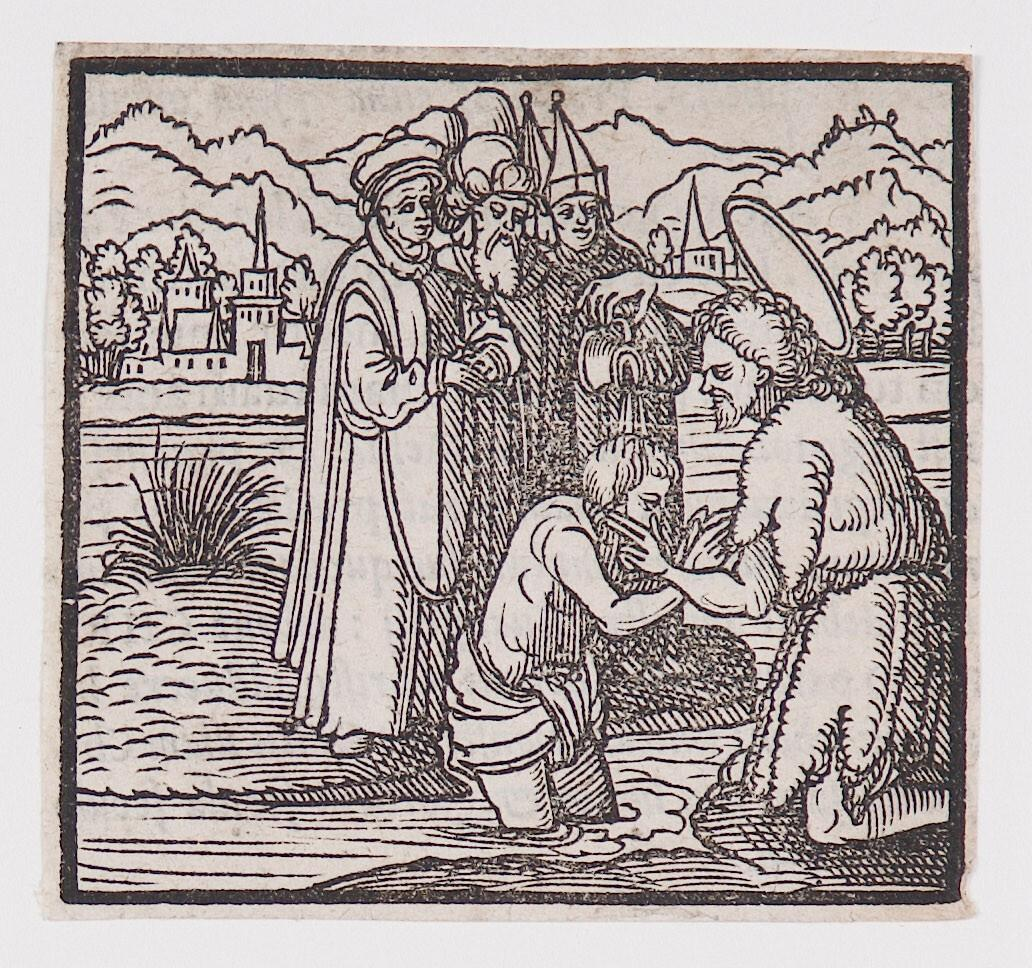 """Saint John the Baptist baptizing, "" from a book of commentary on the Bible (Latin), Matthew 3: 4-7"