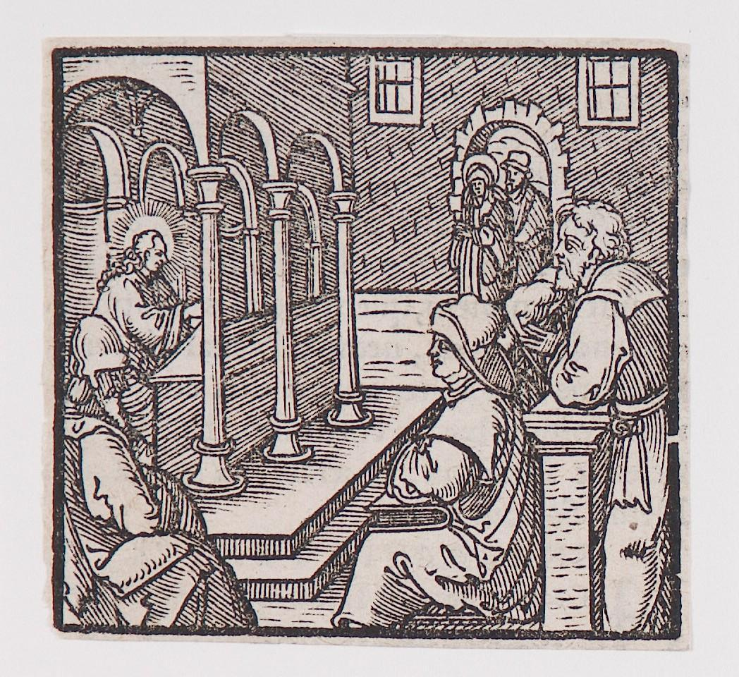 """Jesus talking with the Elders in the Temple,"" from a book of commentary on the Bible (Latin), Luke 2: 42-51"