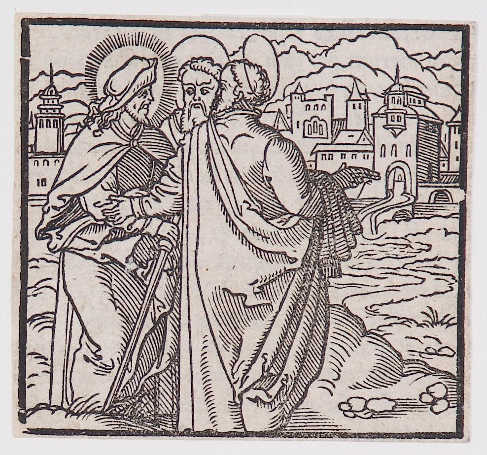 """Journey to Emmaus,"" from a book of commentary on the Bible (Latin), Luke 24: 13 - 16"