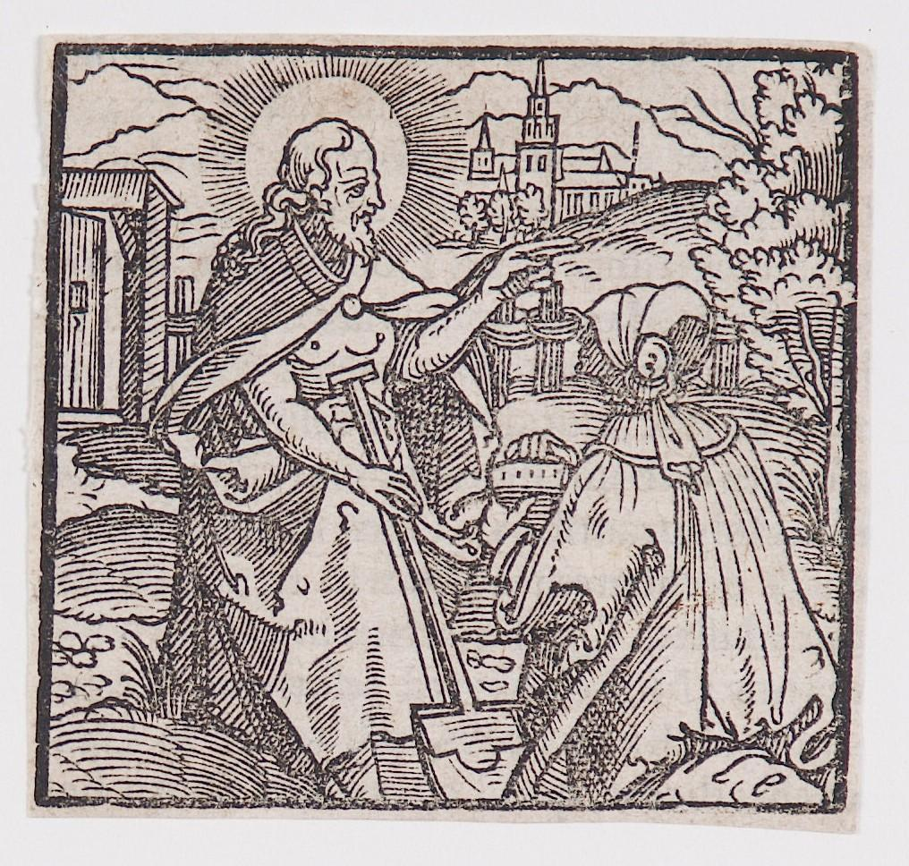 """Resurrected Christ appearing to Mary Magdalene,"" from a book of commentary on the Bible (Latin), John 20: 11-17"